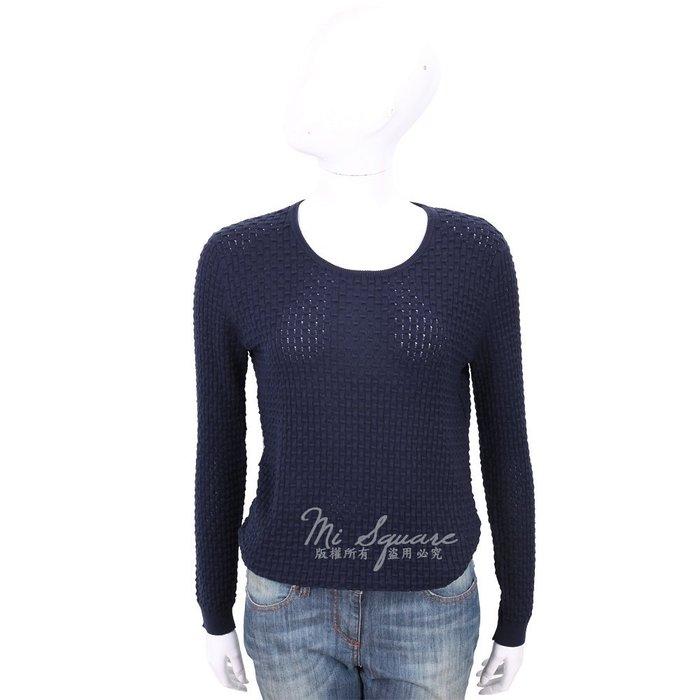 米蘭廣場 ALLUDE 深藍色竹節編織長袖圓領針織衫 1740237-34