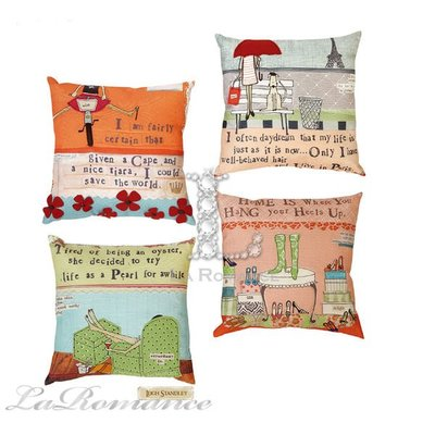 【Creative Home】Heart & Home 心戀家居系列美麗人生棉麻刺繡抱枕 / 靠枕 / 靠墊