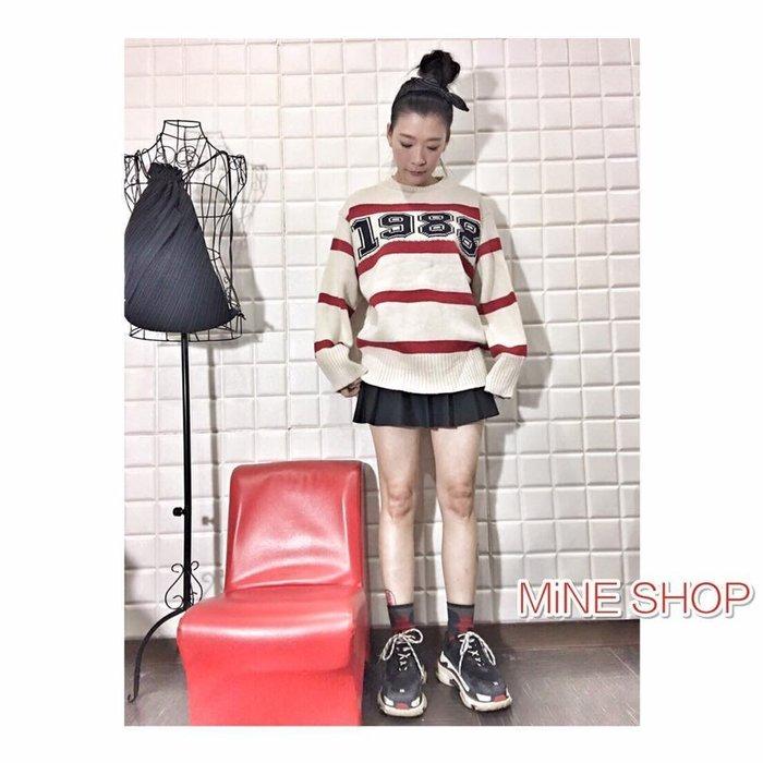 MiNE SHOP2017冬季新款韓版時尚學院風學生鬆緊高腰純色百搭A字百褶半身裙1106-7 兩色L現貨