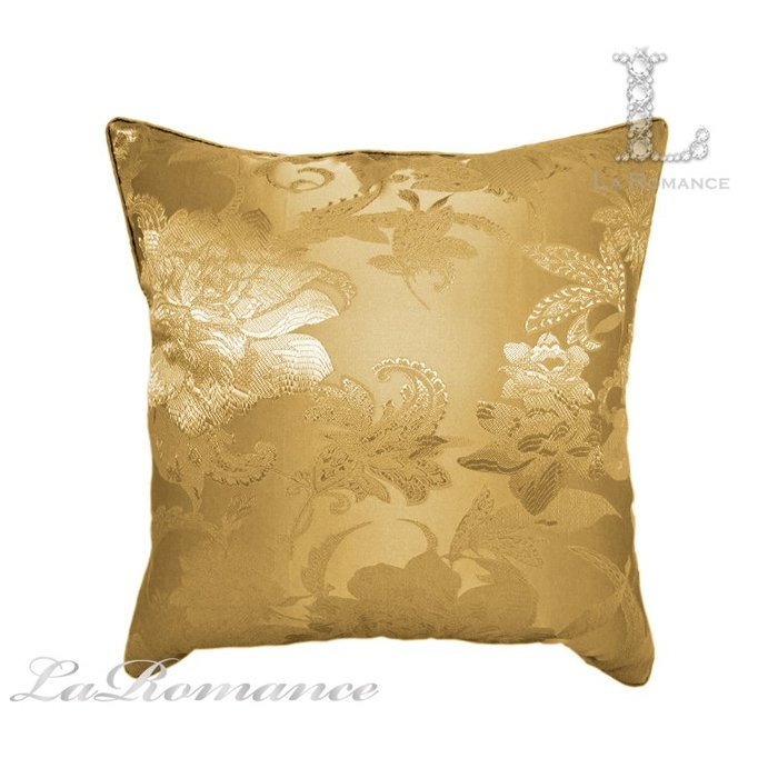 【芮洛蔓 La Romance】古典風情系列金色純棉高織密抱枕  / 靠枕 / 靠墊 / 方枕