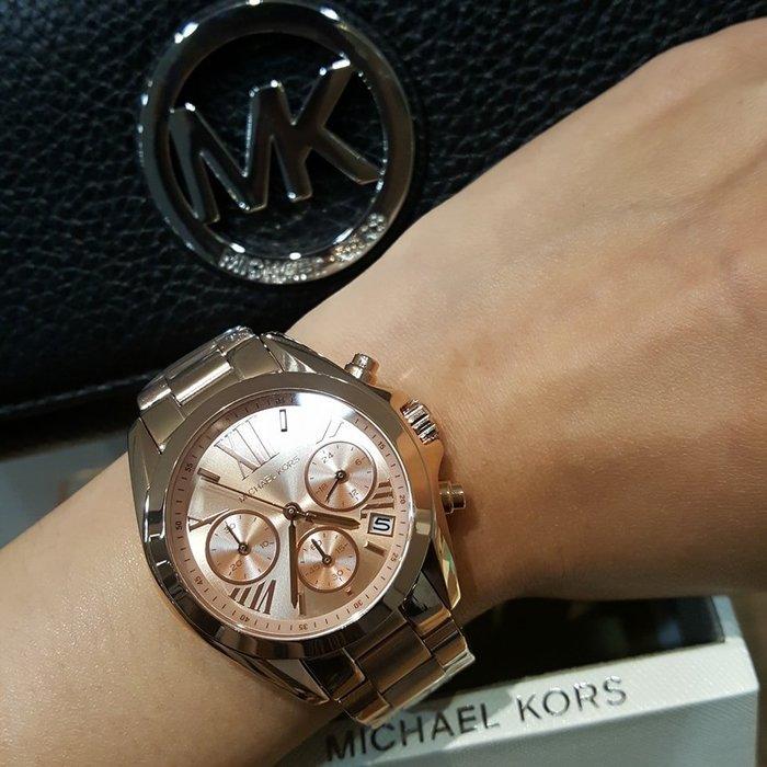 【現貨】女 Michael Kors 不鏽鋼 玫瑰金 MK5799 典雅玫瑰金三眼計時腕錶  保證正品 歡迎來店參觀選購