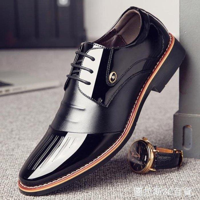 男士商務正裝黑色漆皮鞋男春季潮鞋韓版英倫尖頭休閒內增高男鞋子