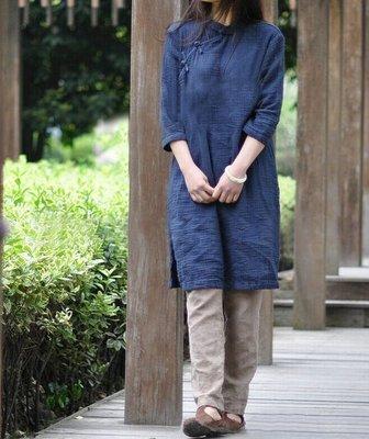 中式長衫/棉質長袖長衫/連衣裙(老銀屋...