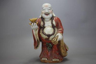 ㊣姥姥的寶藏㊣福建會館朱茂記粉彩彌勒佛送金元寶雕塑瓷