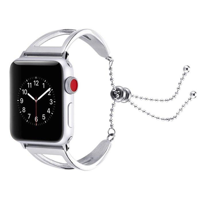 適用 蘋果 apple watch4 手錶錶帶 金屬鋼手鐲款 iwatch3/2 替換腕帶 智能手錶帶 時尚簡約