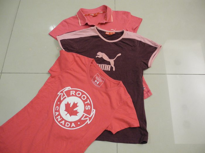 Root&PUMA女短袖T恤(S號)(三件尺寸相同合售) 衣長58cm,胸圍平量42cm,肩寬36cm 漂亮極新無汙損