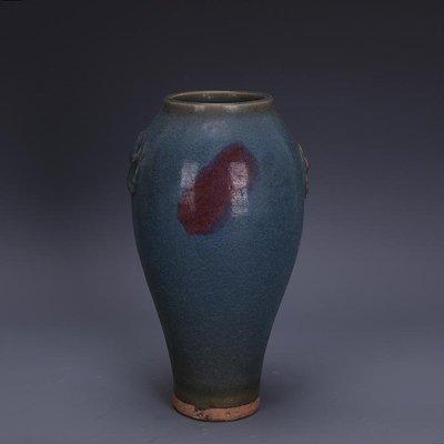 【三顧茅廬】宋代鈞窯青釉玫瑰紫窯變獸耳梅瓶 接老底出土古瓷器手工古玩收藏