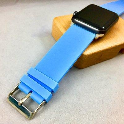 Apple Watch 代用錶帶 矽膠 素面 等寬 排汗透氣設計 運動 穿戴 ㊣ 天空藍 38 40 42 44