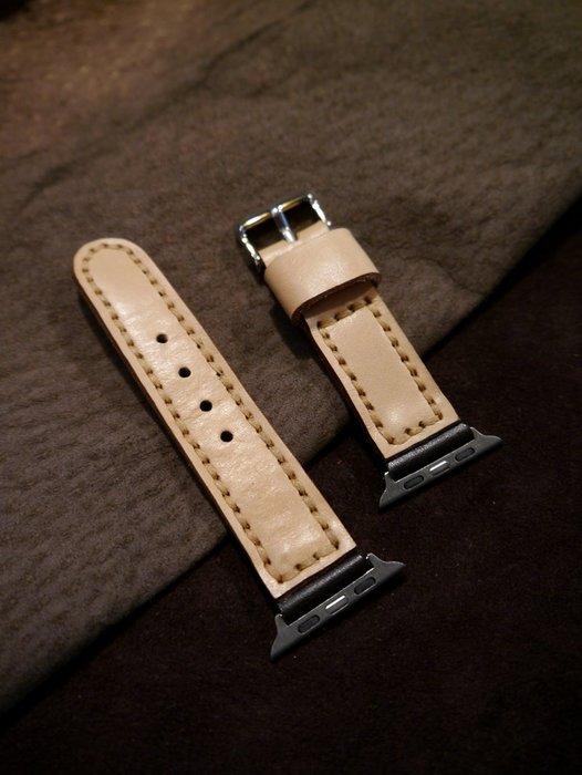 KH手工皮革工作室 Apple Watch皮革錶帶 42/44mm替換錶帶全手工台灣製造MIT獨一無二非大量生產