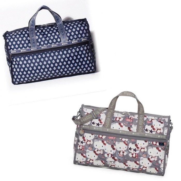 ♥ 小花日韓雜貨 ♥ -- lesportsac 7185 kitty 藍色鑽石花大款旅行袋出國出差行李包