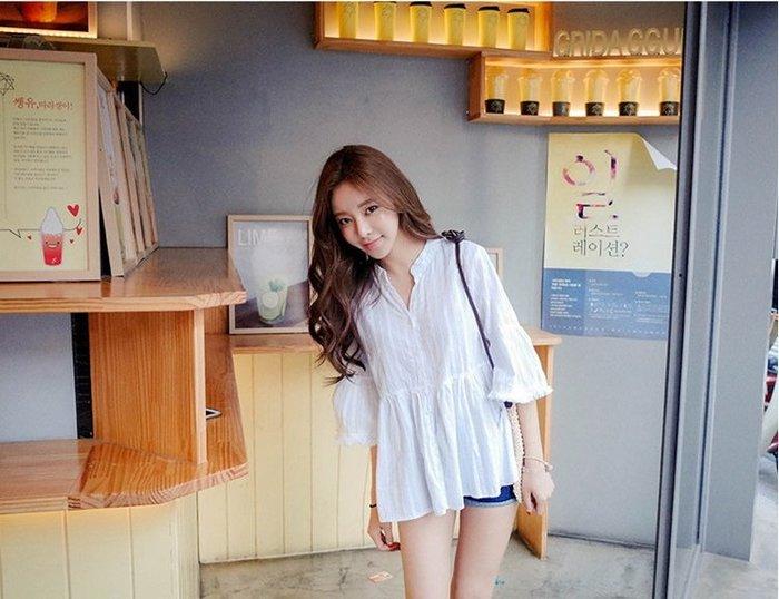 《現貨》 甜美五分袖棉麻上衣中長版18C140606