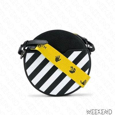 【WEEKEND】 OFF WHITE Diag Round 條紋 圓包 肩背包 黑色 20秋冬