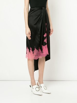 WALK OF SHAME 粉色蕾絲 絲質 不對稱裙