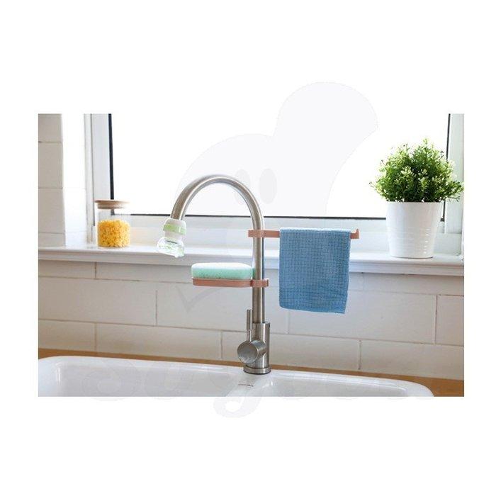 水龍頭瀝水置物架 居家廚房水槽收納架海綿抹布瀝水架[好悠閒_SoGoods優購好]
