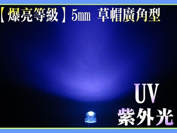 中億☆【爆亮大晶】5mm 400nm 廣角型UV紫外光LED、5元/顆、可做成日光燈管/燈泡/手電筒!