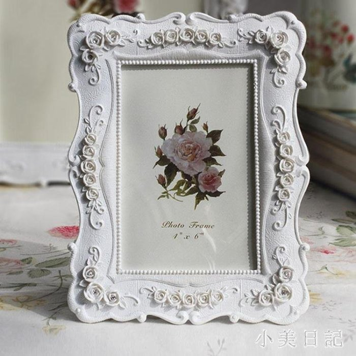 6寸7寸8寸10寸白色田園相框組合玫瑰相架創意照片框擺臺A01 qf8550