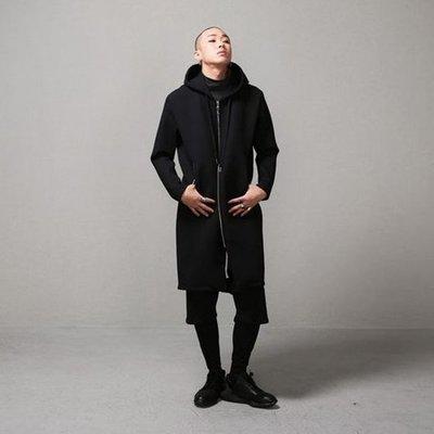 ∵ PRAY FOR FASHION ∴暗黑純色風薄款加長款2way上下對開拉鏈太空棉面料連帽巫師衛衣外套