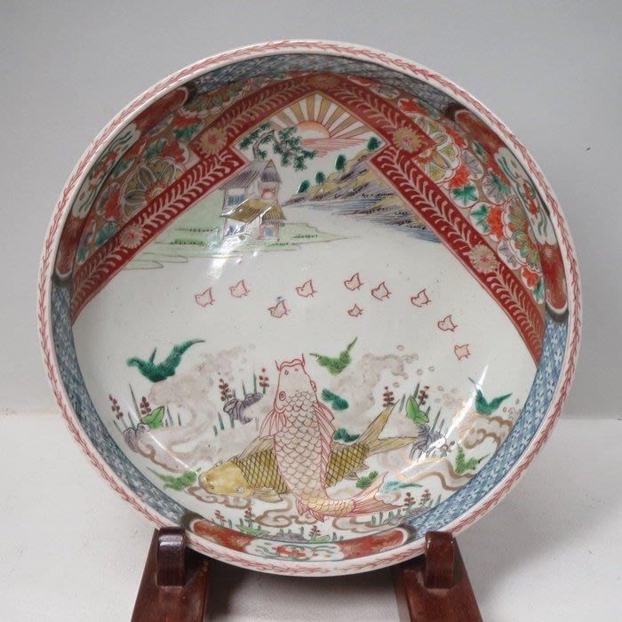 日本˙˙老伊萬里˙青花紅彩˙鯉魚紋大水缸