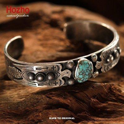 Back to Original【Hozho】日產 老品的氛圍 印地安雙雷鳥美產松石手環 手鐲