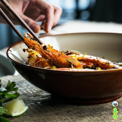 (免運)棕色甜品碗家用歐式小奢華沙拉碗陶瓷碗單個家用創意飯碗面碗