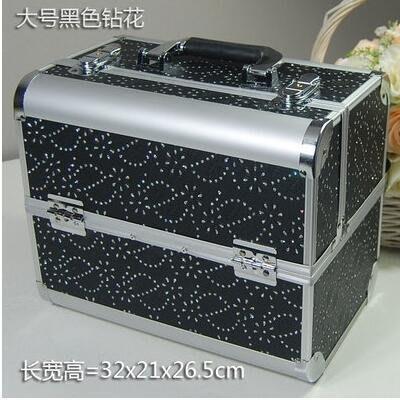 【優上】手提大號化妝箱專業化妝師紋繡工具箱彩妝箱大號黑色鑽花紋