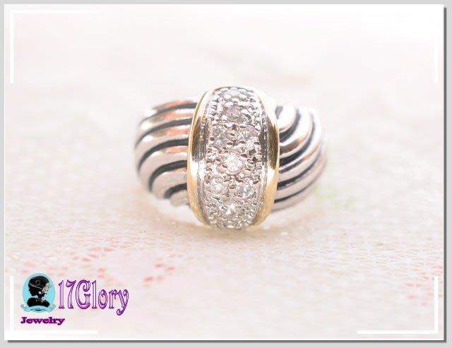 復古線條鑲鑽時尚戒指 獨家設計與眾不同 時尚品味  復古處理 鍍黃白K金耐看好搭 個性穿搭#現貨✽ 17 Glory ✽