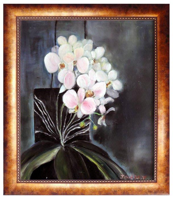 {藝術之都]手繪創作畫~盛開的蘭花~50*60CM 已完成作品實品拍攝)鹿江畫家 倪忠信