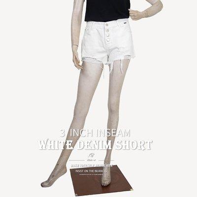 三分牛仔褲 白色牛仔褲 排扣牛仔三分褲...