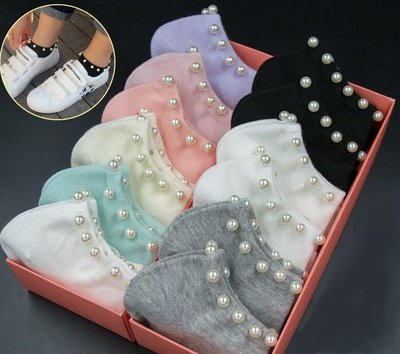 珍珠鉚釘純棉 短襪 短筒 淺口襪 踝襪...