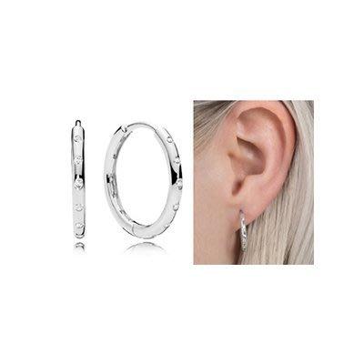 美國大媽代購 pandora 潘多拉 鑲鑽新款水滴圓環耳環環 925 Charms 美國正品代購