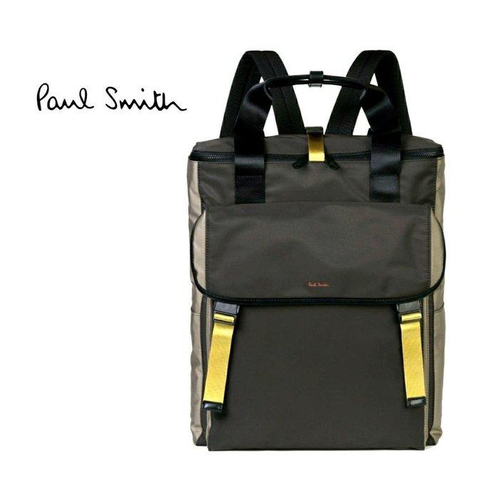 Paul Smith ► ( 卡其軍灰綠色×黑色×黃色 )  防水尼龍後背包 中性款|100%全新正品|特價!