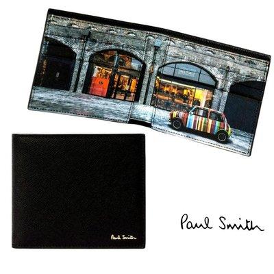 Paul Smith ( 黑色×經典mini車× Kings Cross)防刮 真皮兩摺短夾 八卡式 皮夾 錢包 中性款|100%全新正品
