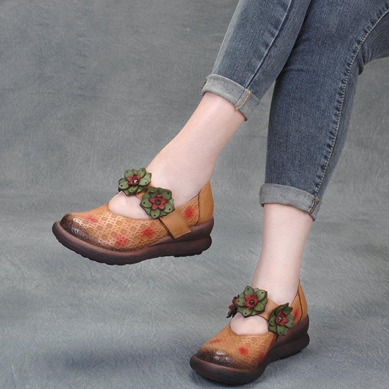 拓荒者革製所。真皮厚底花朵鞋民族風復古花朵高跟淺口女鞋真皮魔鬼粘坡跟牛皮圓頭厚底單鞋