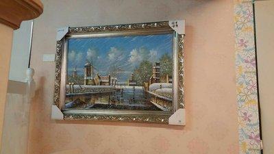 精緻銀框手繪花園 壁掛油畫