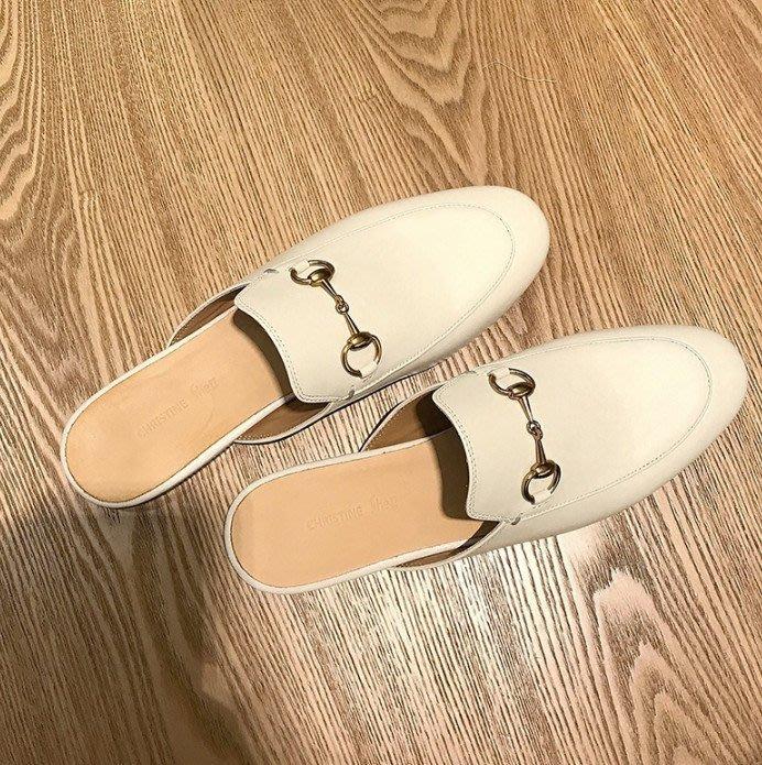 Breeze 非Gucci 馬蹄扣金屬扣 拖鞋懶人鞋樂福鞋 平底鞋 穆勒鞋 真皮 BAA9
