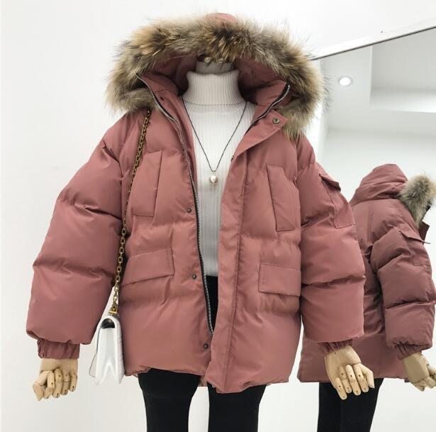 真毛領棉服外套 新款寬松連帽加厚棉衣 面包服—莎芭