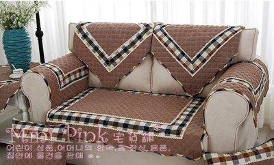 Mini Pink 宅貨舖--復古經典格紋拼接-棕色 棉麻絎縫布藝抱枕套 沙發墊 坐墊 多種規格【D205-2】訂製款