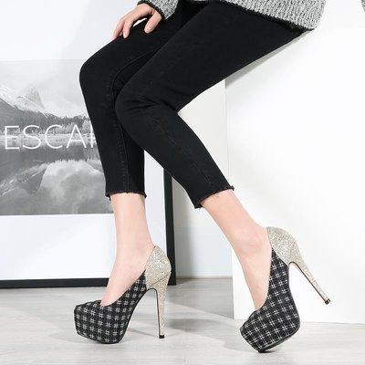 奢華氣質超高跟性感金色亮片白色女婚鞋新娘鞋12公分細跟13CM單鞋