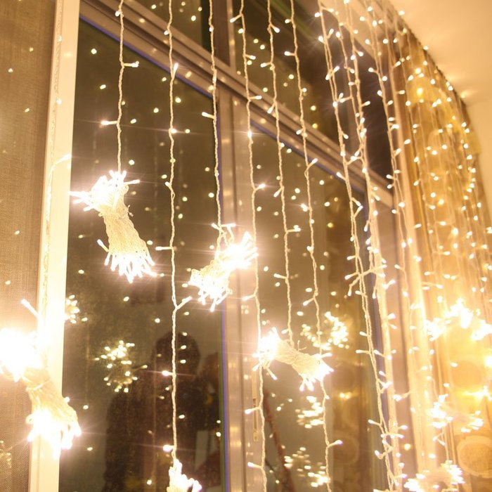 ❤愛樂芙 派對x佈置❤3*3米 門簾燈 LED彩燈閃燈串  串燈婚慶房裝飾燈(現貨+預購)