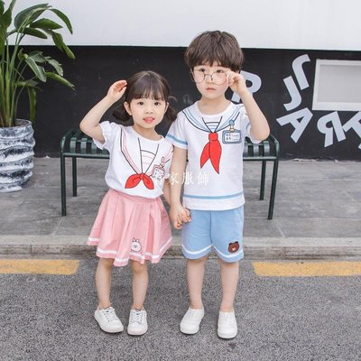 有家服飾幼兒園園服夏裝短袖男童女童套裝夏季洋氣時髦女寶寶學院風兩件套