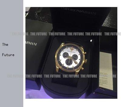 Armani 阿瑪尼 手錶 AR 亞曼尼手錶 金殼商務休閒簡約三眼計時男士手錶男錶AR6006 現貨