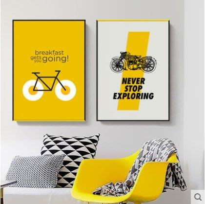 『格倫雅』妙語生花 現代簡約裝飾畫客廳掛畫黃色字母墻畫文字箴言勵誌壁畫^15783