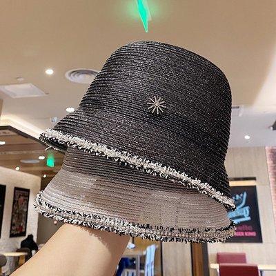 漁夫帽 盆帽-亮絲鑲鑽鏤空毛邊女帽子2色73xu27[獨家進口][米蘭精品]