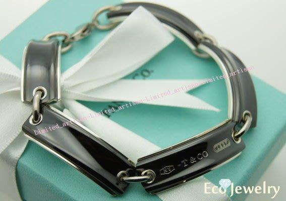 《Eco-jewelry》【Tiffany&Co】稀有款 1837黑鈦牌相連手鍊 純銀925手鍊~專櫃真品已送洗