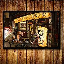 日式日本裝飾相框帶框畫鹿兒島酒吧夜景料理店餐廳居酒屋壁掛牆畫(9款可選)