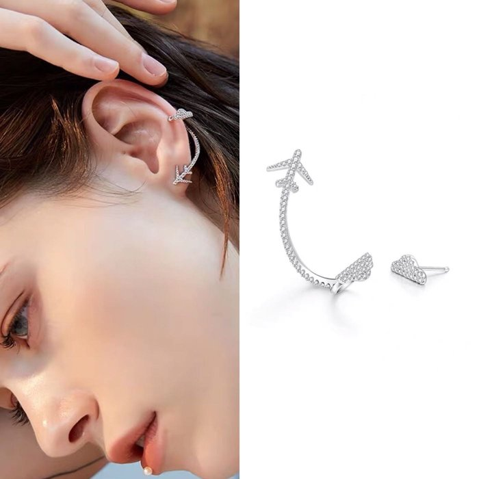 💎1641、飛機遊記系列 穿越時光飛行軌跡微鑲耳骨夾耳環💎 名牌精品 耳環 925純銀耳針 空運來台 輕奢珠寶 正韓飾品