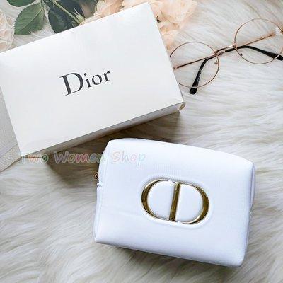 限量【迪奧】時尚白色美妝包 化妝包 手拿包 收納包 萬用包 原廠盒裝 品牌拉鍊 專櫃最新款 贈品包 非雜誌包