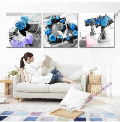 【40*40cm】【厚2.5cm】藍色玫瑰-無框畫裝飾畫版畫客廳簡約家居餐廳臥室牆壁【280101_001】(1套價格)