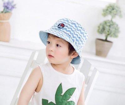 春夏兒童海洋風水波紋漁夫帽遮陽帽
