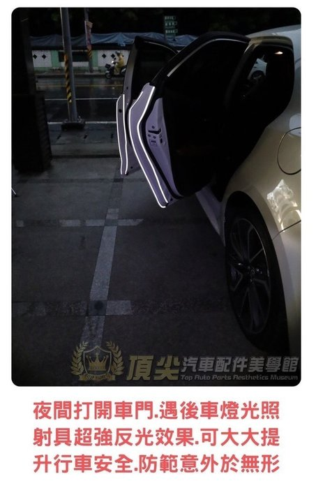 加倍安全 雙重防護【3M車門防撞反光警示貼條】鑽石級反光貼膜 車門邊保護貼 超強反光條 包膜級車貼 汽車機車警示反光貼條